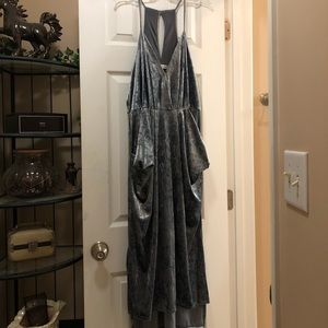 Crushed silver velvet dress with pockets